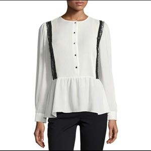 Pintuck lace trim blouse